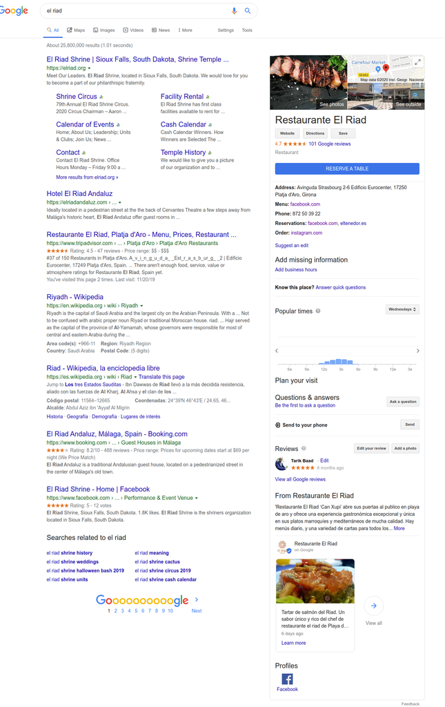 Posición del restaurante el Riad en Google